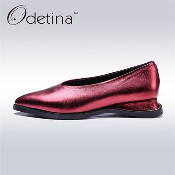 Odetina 2017 New Casual Spring Autumn Single Shoes Genuine Leather Women Ballerina Shoes Ladies Low Heel Pumps Plus Size 33-43