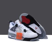 Nike Air Jordan Retro 4 White Cement Men and women Basketball Shoes Breathable Men's Outdoor Sports Sneakers Size 36-46 Lover Style