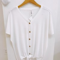 Ivory Button Up Tie Front Top