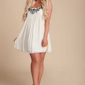 Lovin' You Embroidered Mini Dress (Ivory)