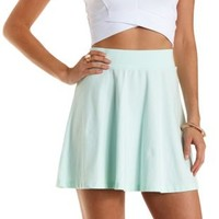 Mint Cotton Skater Skirt by Charlotte Russe