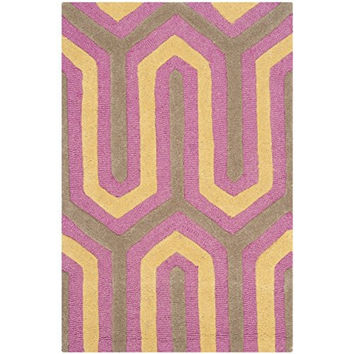 Safavieh Cambridge Collection CAM351F Handmade Fuchsia and Grey Wool Area Rug, 2 feet by 3 feet (2' x 3')
