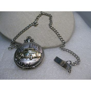 Vintage Benrus Two-Tone Pocket Watch on Chain, Pick-up Truck in the Woods