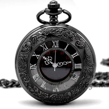 Quartz Pocket Watch Black Chrome Pocket Watch Pendant Roman Number pocket watch