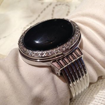 Black Onyx  gemstone bangle bracelet watch