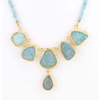 Stepping Agate Stone Necklace - Aqua