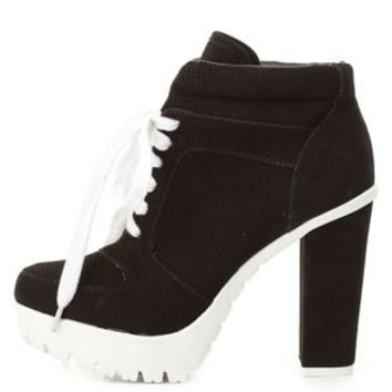 Bamboo Lug Sole High Heel Sneakers by Charlotte Russe - Black