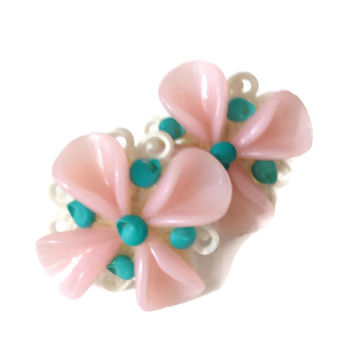 Vintage Celluloid Earrings, Screw Back, 1950's, Pink and Turquoise, Flower Earrings, Costume Jewelry,Celluloid Jewelry,  50's Earrings