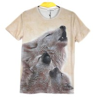Howling Wolf Cubs Photo Graphic Print T-Shirt in Beige | Gifts for Animal Lovers