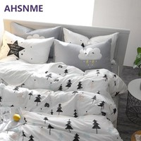 AHSNME 100% Cotton Bedlinen Nordic bedclothes multi size bedcover pine cactus duvet cover pillowcase bedding set Bed Set