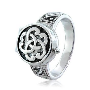 Triquetra Irish Celtic Knot Signet Locket Poison Ring Sterling Silver