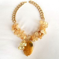 Yellow Citrine Necklace, Jewelry, Autumn, Leaf Necklace, Natural Gemstone, Women Fashion, Gold Beads, Faceted Citrine, Wedding
