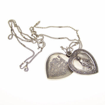 Vintage Sterling Silver Heart Miraculous Medal Lords Prayer Medal Sliding Pendant Necklace