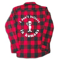 I Don't Believe In Humans Flannel- Red