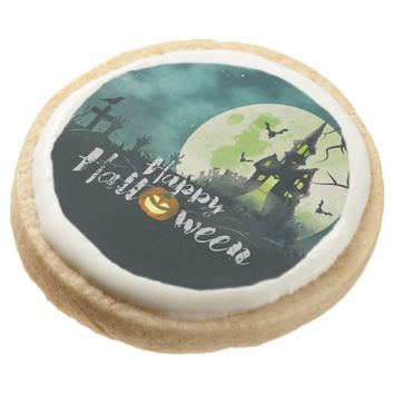 Spooky Haunted House Costume Night Sky Halloween Round Shortbread Cookie