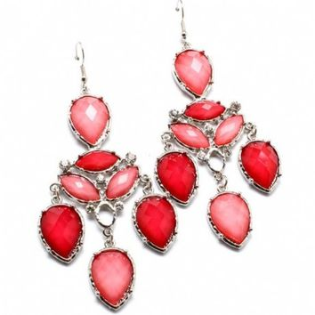 Wendolyn's Light & Dark Pink Stone Chandelier Earrings-Final Sale