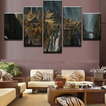 Canvas Art Prints Poster Wall Modular Picture 5 Panel Lord Of The Rings Home Decoration Living Room Modern Paintings Artwork