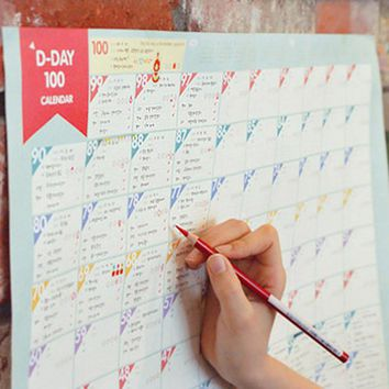 NEW Useful Superdeal 100 Day Countdown Calendar Learning Schedule Periodic Planner Table Gift For Kids Study Planning Memo Paper