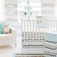 My Baby Sam Chevron 3-pc. Crib Set - Aqua & Gray (Grey)