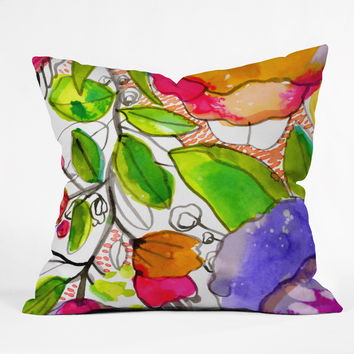 CayenaBlanca Watercolour Flowers Outdoor Throw Pillow