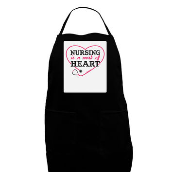 Nursing Is A Work Of Heart Panel Dark Adult Apron