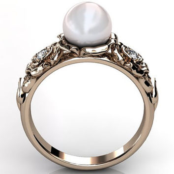 14k rose gold white South Sea pearl diamond unusual unique floral engagement ring, bridal ring, wedding ring ER-1090-3