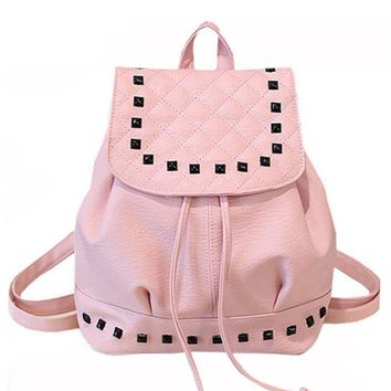 Women PU Leather Quilted Rivets Drawstring Fashion Backpacks