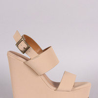 Bamboo Two Bands Open Toe Wedge