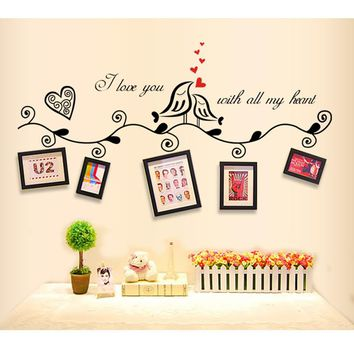 Fashion Love Birds Quotes Vinyl Wall Stickers Sticker For Wedding Decoration Photo Frame Decor Decorative Home Decal Mural Art