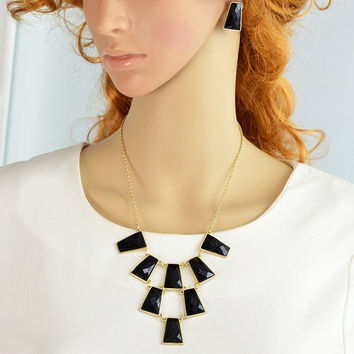 Black Faux Gem Rectangle Necklace and Earrings