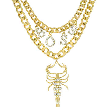 Goldtone Double Layer Chain Necklace with Dangling Boss Charms and Scorpion Pendant Matching Jewelry Set