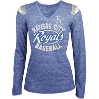 Kansas City Royals Women's Tri-blend Long Sleeve V-Neck T-Shirt by 5th & Ocean
