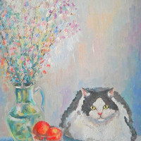 """Original Custom Still Life Cat """"Curious cat"""" Impasto Oil Painting Bouquet of Flower Wall Decor Nature Contemporary Art Photo to Painting"""