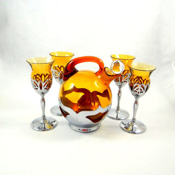 Vintage Chrome and Amber Glass Decanter and Cocktail Glasses by Farber Brothers