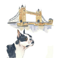 Boston Terrier Watercolour Painting, London, Travel Art, Dog Watercolor, Dog Art, 8x10 Painting