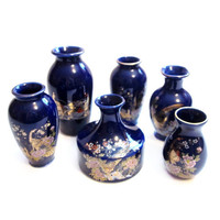 1970s Blue Ceramic Porcelain Vases, Miniature Lot