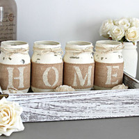 Rustic Home Decor - Table Decor - Set of 4 Mason Jars Spelling HOME