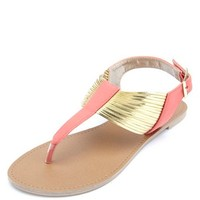 GOLD METALLIC STRAPPY THONG SANDALS