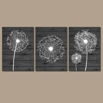 DANDELION WALL ART, Charcoal Bedroom Wall Art, Dandelion Canvas or Prints, Charcoal Bathroom Decor, Dandelion Wood Pictures, Set of 3