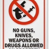 "No Guns, Knives, Weapons or Drugs Allowed on Property (with Graphic) Decal, 5"" x 8"""