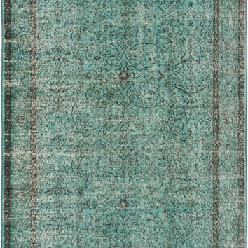 "5'1"" x 8'6"" Turquoise Blue Green Turkish Overdyed Rug"