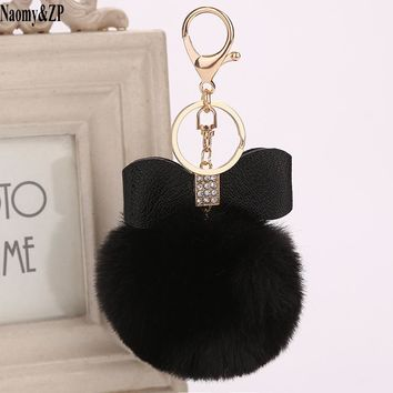 Naomy&ZP Pompom Women Trinkets PU Leather Bow Rhinestone Keychain Charm Pompon Keyring Fluffy Faux Rabbit Fur Ball Key Chains