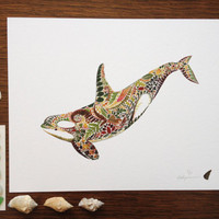"Pressed Fern Orca - 8"" x 10"" Giclée Print - Limited edition and hand finished - Herbarium Artwork - Whale Dolphin Nautical Sea"