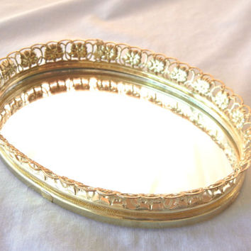 Mirrored Dresser Tray, Gold Filigree Edge, Small Oval, Display Jewelry, Perfumes, Etc., 80s