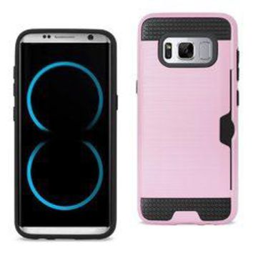 REIKO SAMSUNG GALAXY S8/ SM SLIM ARMOR HYBRID CASE WITH CARD HOLDER IN PINK