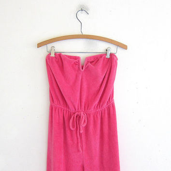 vintage 80's pink terry cloth jumper / swimsuit cover up / beach wear /  size S