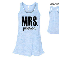 MRS TANK, Personalized Mrs Shirt, Just Married, Honeymoon, Bride, Wedding, Blue