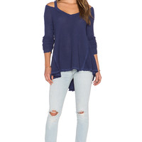 Free People Moonshine V Neck Sweater in Atlantic Blue