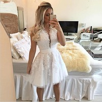 New White Lace Cocktail Dresses 2016 Luxury Lace Short Formal Party Gowns V-neck See-Through Sexy Pearls Vestidos De Coctel
