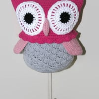 Crochet owl music box with pull string - Baby crib Music box owl - Baby Crib Toy - Nursery Decor - musicbox -
